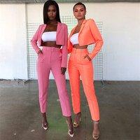 Ready to ship fall boutique neon orange green 2 piece blazer winter coat set for women