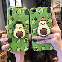 Hot selling Green Avocado Fruit phone case For apple iphone 6s 7 8 6p 7p 8p 3d imd mobile cover  with pop socket