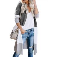 High Quality Women Knitting Long Cardigan Color Block Long Sleeve Sweater Cardigan