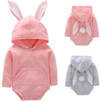 Childrens clothing baby animal jumpsuit Autumn plain cotton long-sleeved cotton baby girl rompers