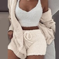 Fluffy Hooded Open Front Teddy Coat and Short Sets
