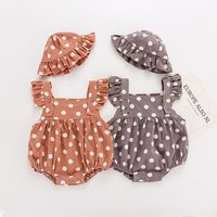 Summer Baby Clothing Flare Sleeves Polka Dot Romper and Matching Cap 2 Pieces Toddlers Jumpsuit with Hat Baby Summer Outfit