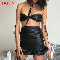 OOTN Party Club Streetwear New 2020 Summer Sexy Slim Ruched Pencil Skirt Ladies Black Ruffle Mini Skirts PU Leather Women Skirt