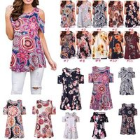 G1 feitong womens blouse summer O-Neck cold shoulder short sleeve Polyester Floral casual blouse tops