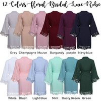 Bridal party robes womens sleepwear robes cotton polyester lace robe