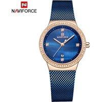 NAVIFORCE NF5005 Women Newest Luxury Mesh Strap Quartz Watches Stainless Steel Auto Date Bracelet Wristwatch