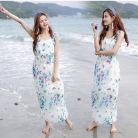 Ladies Womens Sleeveless Boho Printing Chiffon Long Maxi Summer Beach Dress