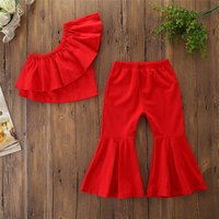 Kids Baby Girl clothing set girls Off Shoulder Solid Ruffle solid Top Long Flare Pants Outfits Baby Summercotton clothes suit