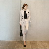 New WomenS Double-Breasted Jacket + Slim Fashion Pants Two Piece Suits Woman Blazer And Pants Sets Ladies