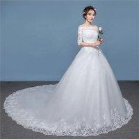 Womens Wedding Dress for Bride Lace Applique Evening Dress Straps Ball Gowns One-shoulder Wedding Dress