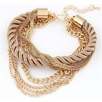 Fashion 61E55 Multilayer Charm Bracelet Exaggerated Gold Chain Charm Bracelet Femme High Quality Of Handwoven Rope Women Jewelry
