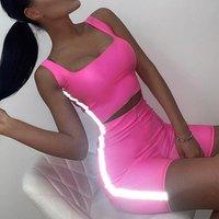 hot selling wholesale fashion reflective custom logo crop top and shorts set Drop ship