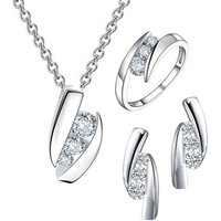 Fancy Luxury Wedding Women Gold Plated Cubic Zirconia 925 Sterling Silver Earring And Necklace Set Jewelry