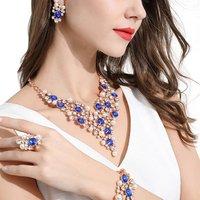 Wholesale Crystal Necklace Fashion Imitation Jewelry, Earring Bracelet Necklace Set, Wedding Women Bridal Jewelry Sets