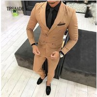 Brown Latest Design Double Breasted Classic Slim Fit Men Suit WF726