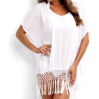 Simplicity Bikini Cover Up Net Tassel Beach dress for vacation
