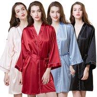 Women Sleepwear Nightwear Kimono Robe Solid Winter Autumn Casual Silk satin Bathrobe Belt Elegant Bathroom Spa Robe
