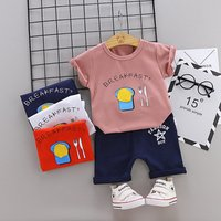 Comfortable baby set  Cartoon print baby clothes sets Unisex Kids Clothing Sets boys