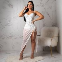 High Quality White Sleeveless  Celebrity Evening Nightclub Cute Cocktail Party Bodycon Dress