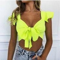 Summer 2019 Bright Neon Green Tank Tops Women Fashion crop top sexy women