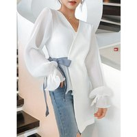 2019 New Designs OEM Service Autumn Spring White Casual Long Sleeve Chiffon Women Blouse