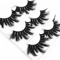 3pcs/lot Free Packaging 18MM 19MM 25MM Long Faux Mink Eyelashes 3 pairs with tweezer