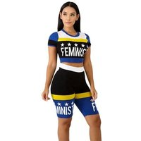 Wholesale round neck short sleeve crop top and skinny shorts two pieces set women clothing WNAK8616