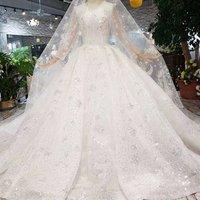 Jancember HTL347 wedding dress long sleeve luxury apparel long trail elegant wedding dresses