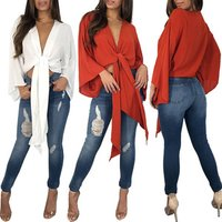 Summer Lady Clothes Women Sexy Deep V Open Front Tie Up Cardigan Tops Bowknot Blouse