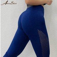 AMESIN YLP053-B Seamless Compression Fashion Girls High Waist Workout Leggings