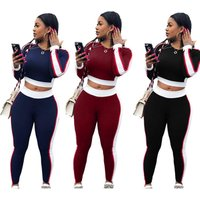 SAW8051 side striped print long sleeves crop top and stretch pants 2pcs set sports fashion women tracksuit
