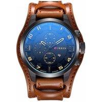 CURREN 8225  Fashion Mens Leather Analog Quartz Sport Top Brand Luxury Watch Black Wrist Watch Military Male Clock