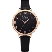 Disu Brand Vintage Leather Womens Watches Casual Butterfly Dial Ladies Wristwatches Simple Style Quartz Dress Watch Women Clock