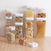 Kitchen Clear Plastic Transparent Sealed Grain Rice Storage Bin Box Fridge Airtight Cereal Food Storage Container