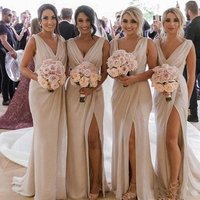 Graceful Cheap Country Bridesmaids Dresses 2019 Chiffon Mermaid High Split Beach Party Maid of Honors Gown