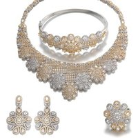 Vantage Gold Plated Zircon Earrings Necklace Jewelry Set Ladies Jewelry Set Necklace