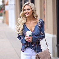 Fashionable Deep V Neck Sexy Long Sleeve Ladies Blouse Shirts Casual Women Clothing 2019 Wholesale Floral Print Cotton Tops