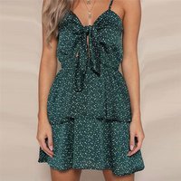 Spaghetti Strap Green Dot Print Short Dress Front ow Tie Backless Sexy Summer Dress For Beach Party