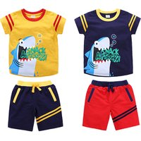 New Summer Boy Suit of 2019 Cotton Short-sleeve Printed Boy Suit clothes kids boy