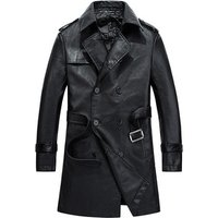 Hot selling Men fashion Long section Slim Trench thin Pu Coat with cheap price