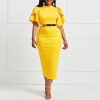 2019 women office dress ladies  ruffle zipper plus size boutique women clothing evening summer bodycon silk midi dresses