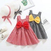 2019 Baby Toddler Clothes Girls Summer Beach Plaid Dress + Hat 2 Pcs Sets Kids Dresses For Girl Vestido Child Clothing