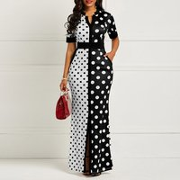 African sexy dress Vintage Polka Dot White Black Printed Retro Bodycon ladies dress Summer Short Sleeve  bridal gowns