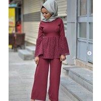 Womens new Kaftan Muslim pant set women new dubai lace muslim set pant
