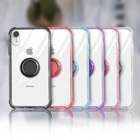 Senlancase Magnet Socket With PC TPU Border Transparent Case For iPhone XS Max , Ring Holder Mobile Phone Case For iPhone XS Max