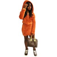 Factory long sleeve coat and T-skirt winter two piece women clothing
