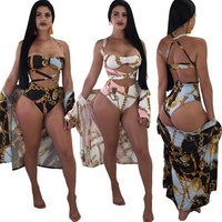 SAS3326 summer swimwear tankinis and cover up kaftan sexy women plus size three piece printed bikini set