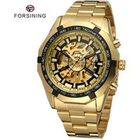Forsining Brand Cheap MenS Stainless Steel Gold Skeleton Automatic Mechanical Wrist Watch Mens Luxury