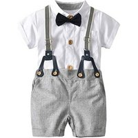 Baby Boys Romper Gentleman Outfits Suits, Infant Short Sleeve Shirt+Bib Pants+Bow Tie Overalls Clothes Set