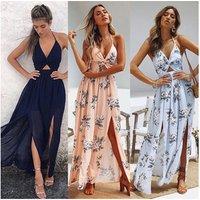 2019 Womens Summer Boho Maxi Long Dress Evening Party Beach Dresses Sundress Floral Halter Dress Summer